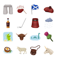 scotland country set icons in cartoon style big vector image