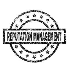Scratched textured reputation management stamp vector