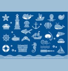 sea icons image vector image