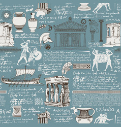Seamless pattern on theme ancient vector