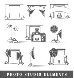 Set of elements of the photo studio vector