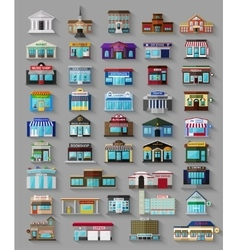 Set of the flat city buildings and shops vector image