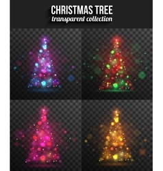 Set of transparent shining christmas trees for vector image