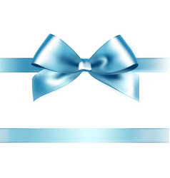 Shiny light blue satin ribbon on white background vector