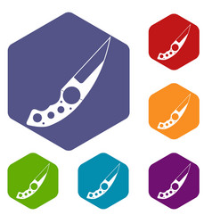 Small knife icons set hexagon vector
