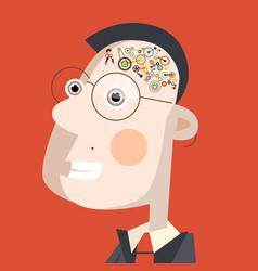 smart man with cogs - gears in brain flat design vector image