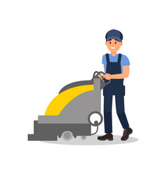 smiling guy working with vacuum scrubber man in vector image