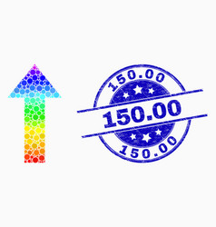 spectral pixel arrow up icon and grunge 150 vector image