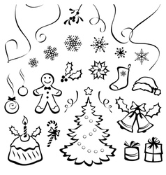 Stylized christmas elements vector image