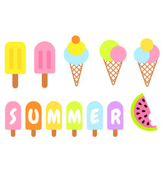 Summer collection ice-cream cone and popsicles vector