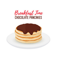 tasty pancake with chocolate on white plate vector image