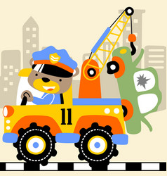 tow truck cartoon with funny driver vector image