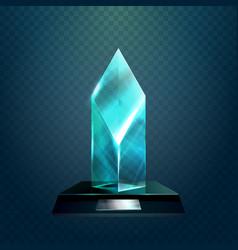 transparent rhombus cup or winner trophy vector image