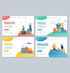 Travellers and travel landing page vector