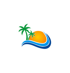 tropic beach sun logo vector image