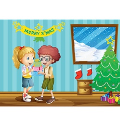 Two adorable kids exchanging their christmas gifts vector image