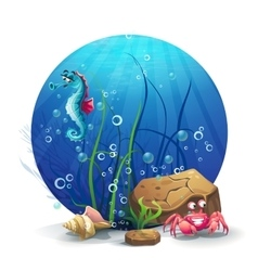 Underwater rocks with seahorse and vector