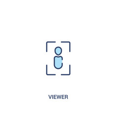Viewer concept 2 colored icon simple line element vector