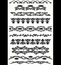 Vintage border floral set seamless vector