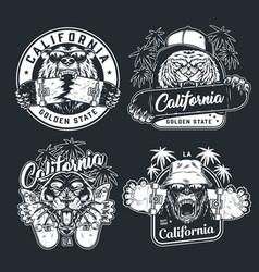 Vintage monochrome skateboarding logos vector