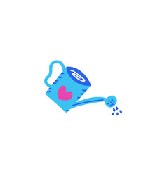 Watering can blue watering can with heart drawn in vector