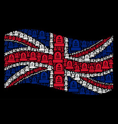 Waving uk flag pattern of grave icons vector