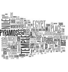 What to see in egypt text word cloud concept vector