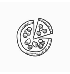 Whole pizza with slice sketch icon vector image