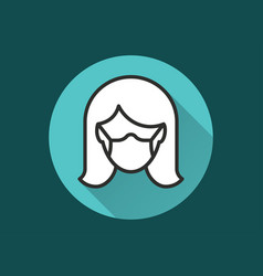 woman in medical face mask icon for graphic vector image