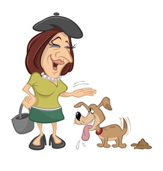 woman petting pet dog vector image