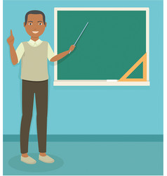 young black male teacher teaching in front of the vector image