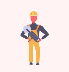 young construction worker holding handheld vector image