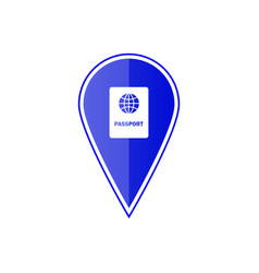 blue map pointer with passport vector image