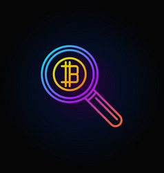 colorful magnifying glass with bitcoin concept vector image vector image