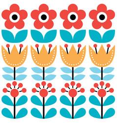 scandinavian seamless pattern swedish folk art vector image