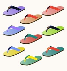 Set of colorful flip flops vector image