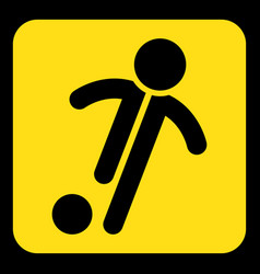 Yellow black sign - football soccer player icon vector
