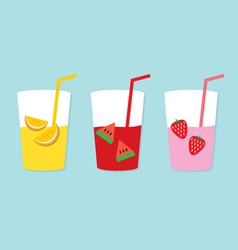 Set Of Fruit Juice Glasses vector image vector image