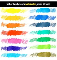 set of hand drawn watercolor pencil strokes vector image