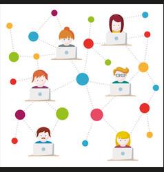 social network flat vector image vector image