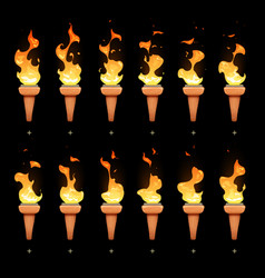 torch animation with cartoon fire blaze sequence vector image vector image