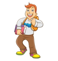 Child going to school with his backpack vector image vector image