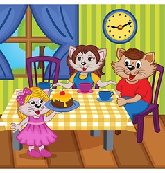 family cats eat cake together vector image