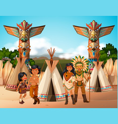 Native american indians at camp site vector
