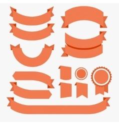 Ribbons Flat Design Set Red vector image