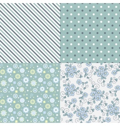 seamless pattern set Flowers lines dots vector image