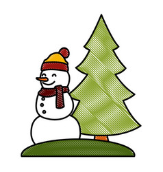 snowman with tree pine vector image