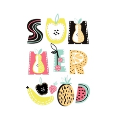 Summer text with cute hand drawn summer fruit vector image
