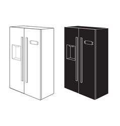 refrigerator two-door black and white icon vector image