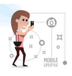 woman with smartphone in the hand and vector image vector image